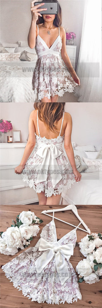 A-Line Spaghetti Straps Short Ivory Empire Lace Homecoming Dresses, TYP0739