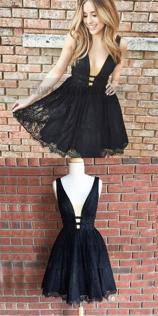 Cute Black Lace Homecoming Dress, Short V Neck Party Dresses, A Line Homecoming Dresses, TYP0740