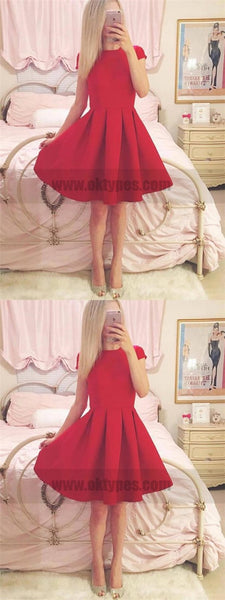 Short Sleeves Simple Cheap Short Red Homecoming Dresses Online, TYP0785