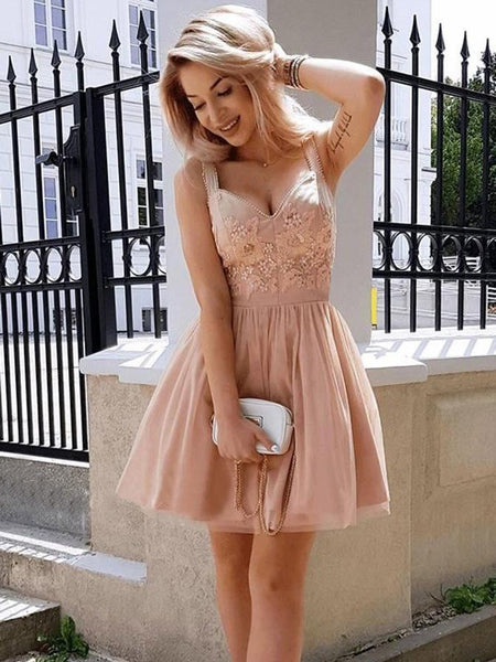 8ced380b083 Pink spaghetti Strap Short Cheap Beaded Homecoming Dresses Online ...