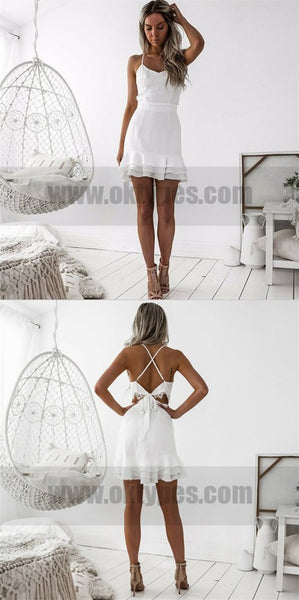 Sheath Spaghetti Straps Short White Homecoming Dresses, Sexy Homecoming Dresses, TYP0736
