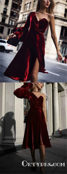 Single Length Burgundy One Shoulder Long Sleeve Homecoming Dresses, TYP1970
