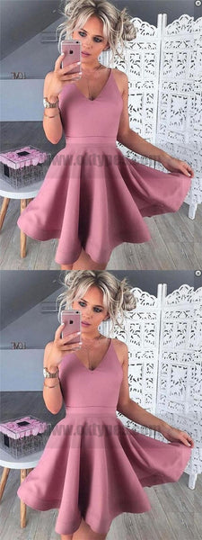 Spaghetti Straps Pink Cheap 2018 Homecoming Dresses Under 100, TYP0824