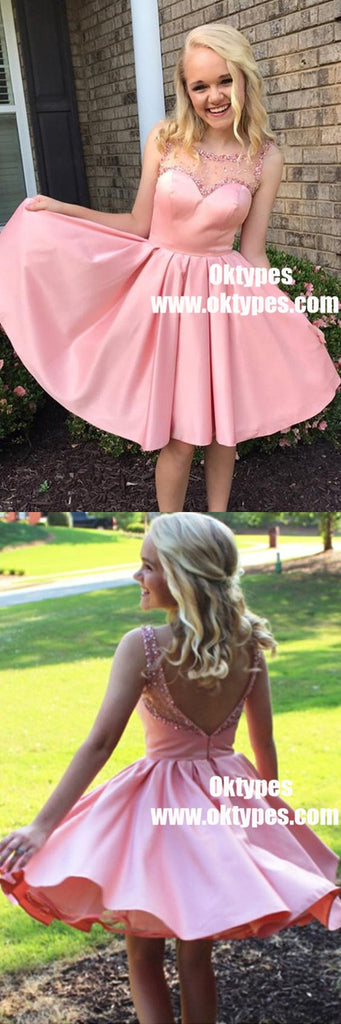 A-Line Round Neck Pleats Pink Satin Homecoming Dress with Beading, TYP0861