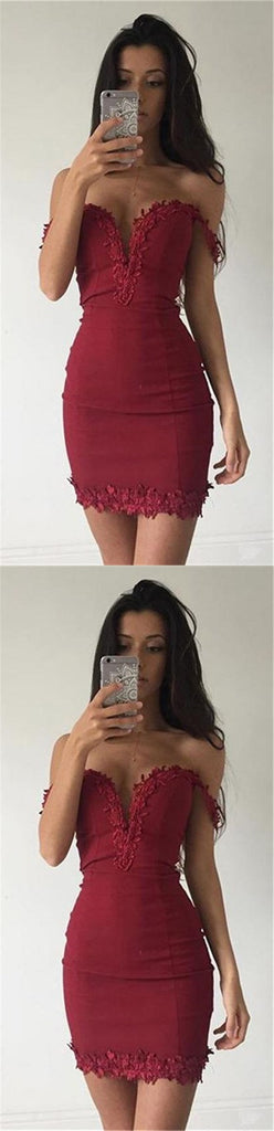 New Arrival Tight Off-shoulder sexy Deep V-neck short/mini Homecoming Dresses, TYP1144