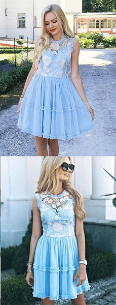 Elegant Jewel Short Cheap Light Blue Tulle Homecoming Party Dresses with Lace, TYP1089