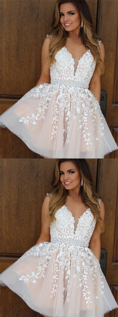 Pretty V-neck Short Cheap Homecoming Dresses With Applique&Beaded, TYP1145