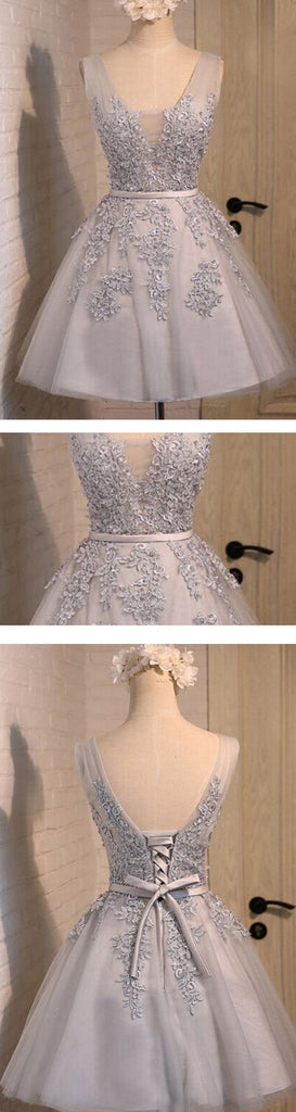 Off shoulder Grey lace Cute Tulle Homecoming Prom Dresses Online, TYP1143