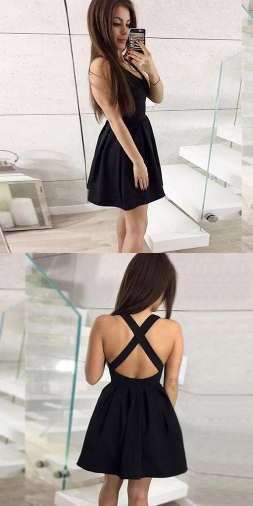 A-Line V-neck Backless Simple Cheap Black Homecoming Dresses Online, TYP1103