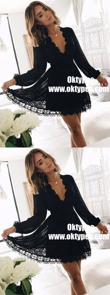 A-Line V-Neck Long Sleeves Little Black Lace Homecoming Dresses, TYP0901