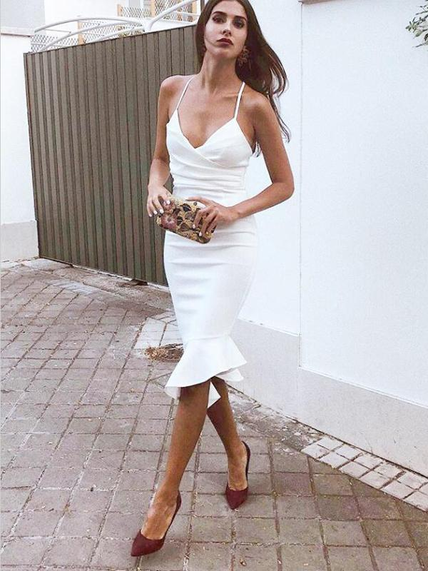 Spaghetti Straps Knee Length White Short Tight Cocktail Homecoming Dresses, TYP0981