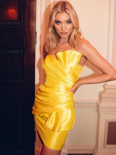 Elegant Strapless Yellow Satin Mermaid Cheap Short Homecoming Dresses, HDS0018