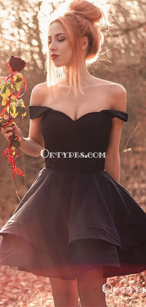 Cute Off Shoulder Layered Black Satin Short Homecoming Dresses, TYP1961