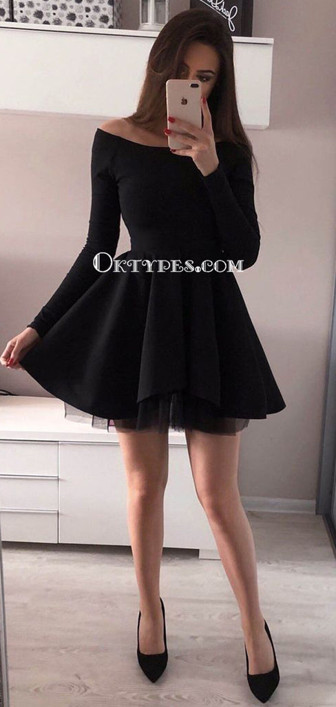 Tight Black Long Sleeve Short Cheap Homecoming Dresses Online, TYP1149