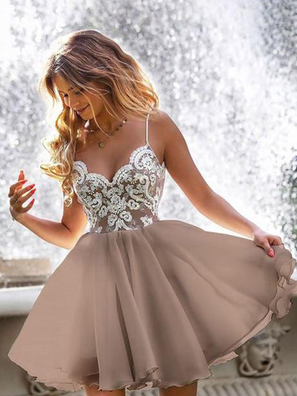Spaghetti Strap Sweetheart Brown Chiffon Lace Appliqued Homecoming Dresses, HDS0045