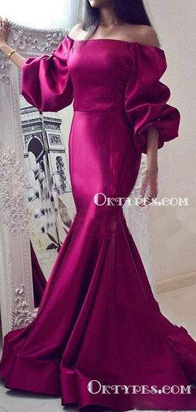 Off-The-Shoulder Charming Newest Long Sleeves Mermaid Long Cheap Evening Party Prom Dresses, PDS0026