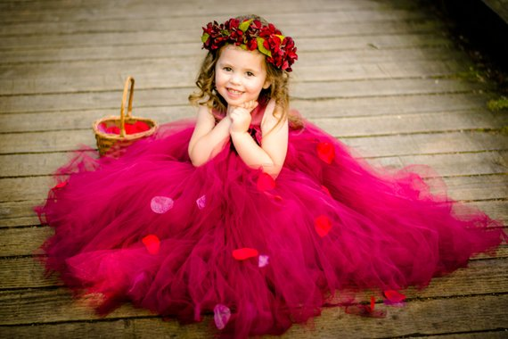 Beautiful Regular Straps Tulle Flower Girl Dresses With Flower Appliques, TYP1091