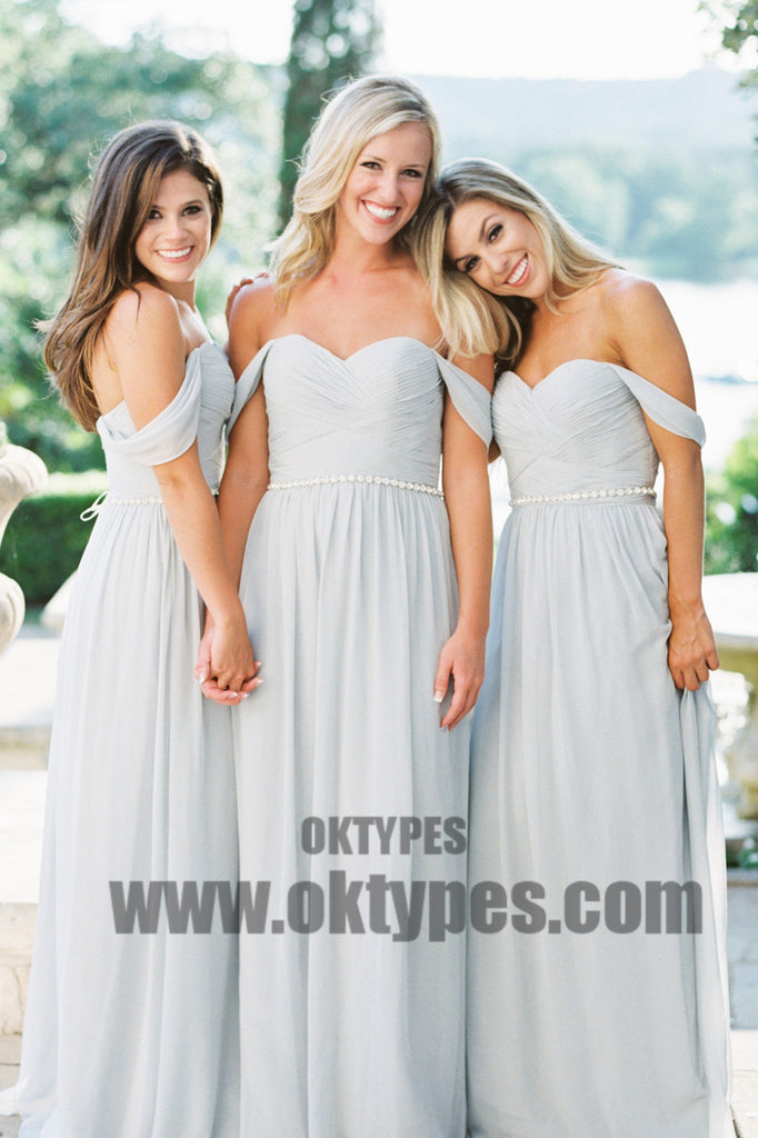 2019 Newest Off Shoulder Chiffon Bridesmaid Dresses, Backless Bridesmaid Dresses, TYP0426