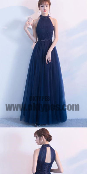 Dark Blue Tulle High Neck Long Prom Dress With Beading, Tulle Prom Dresses, TYP0373