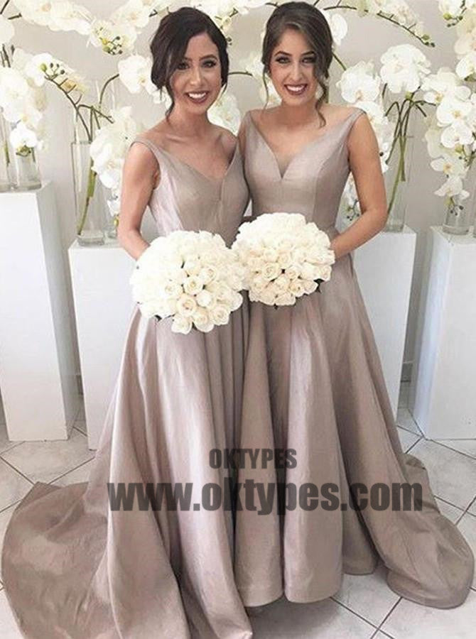 Elegant A-line Bridesmaid Dresses, Satin Long Bridesmaid Dresses, V-neck Bridesmaid Dresses,TYP0438