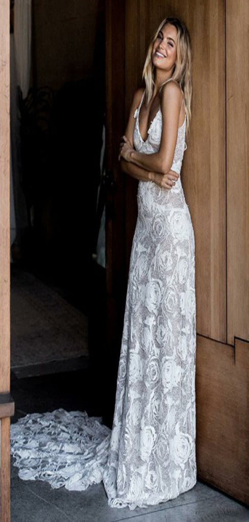 A-Line Spaghetti Straps Court Train Ivory Backless Lace Wedding Dresses, TYP1372