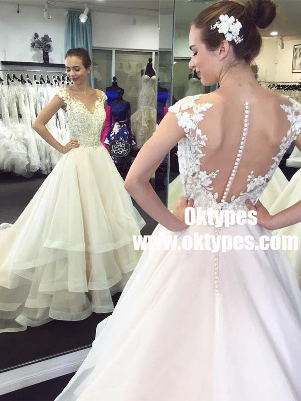 Lace Cap Sleeves See Through Organza Skirt A-line Wedding Dresses Online, TYP0876