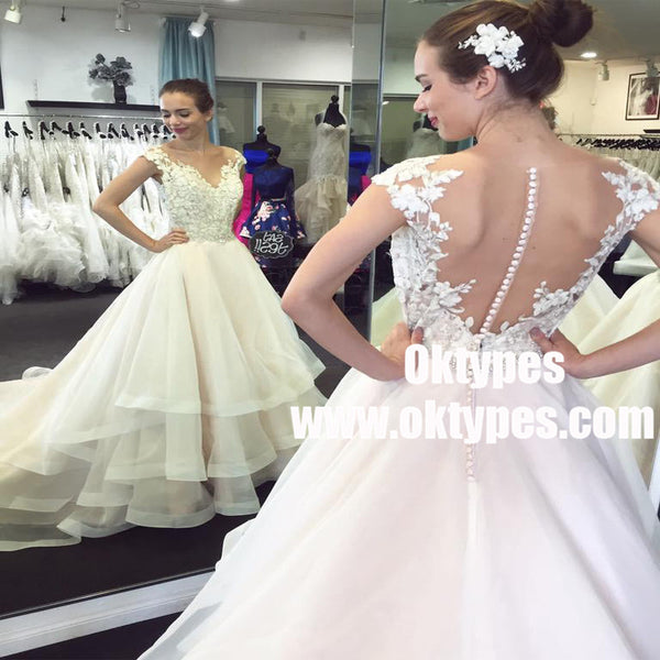 Lace Cap Sleeves See Through Organza Skirt A Line Wedding Dresses