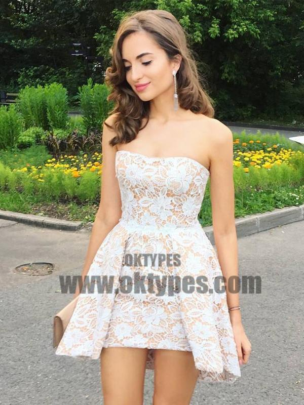 Cheap Cute Cheap Custom Strapless Lace Homecoming Dresses 2018, TYP0663
