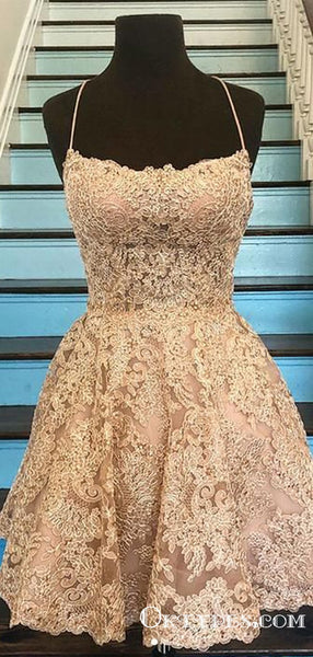 Halter Spaghetti Strap Vintage Lace Applique Homecoming Dresses, TYP2013