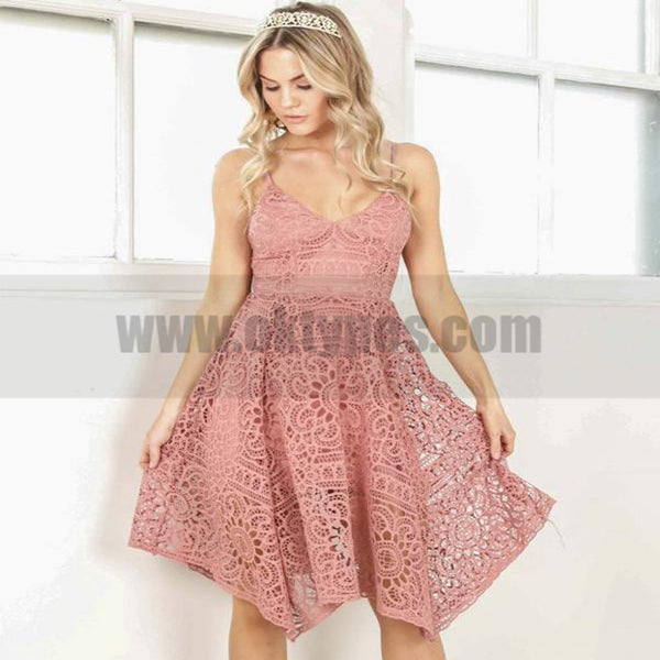 Cheap V Neck Short Cute Lace Homecoming Dresses 2018, TYP0822