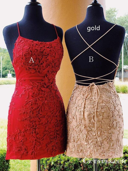Red Halter Spaghetti Strap Cross- Back Lace Short Homecoming Dresses, TYP2014