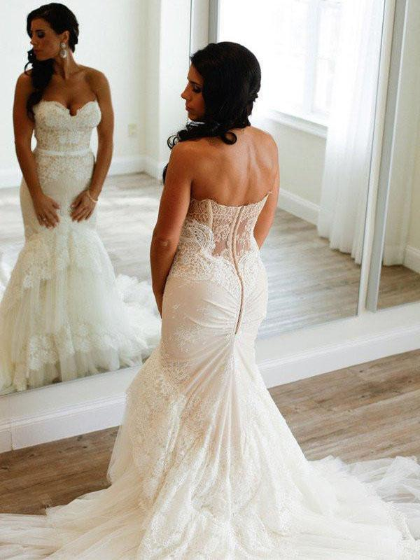 Strapless Mermaid Lace Wedding Dresses, Sexy Long Custom Wedding Gowns, TYP1138