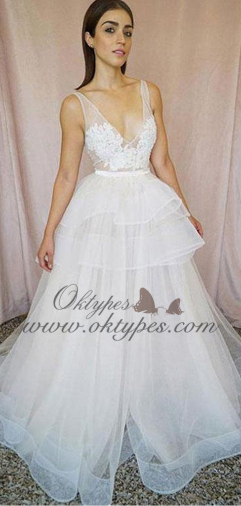Fashion V-Neck Sexy Lace Ivory A-line design Long Prom Dresses, TYP1590