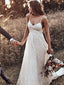 Open Back Straps Long Train A-line Lace Simple Bridal Gown Wedding Dresses, TYP1375