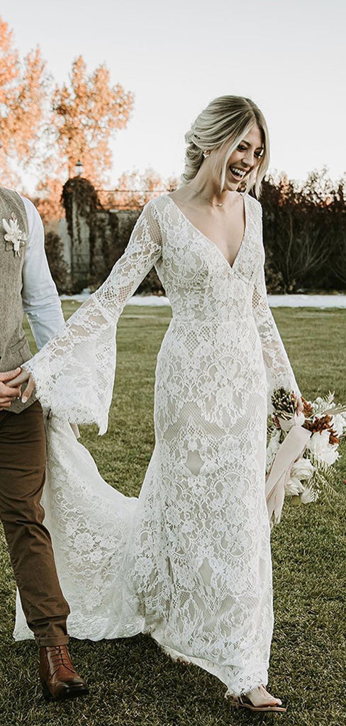 Long Sleeve V-neck Lace Mermaid Long Cheap Wedding Dresses, WDS0064