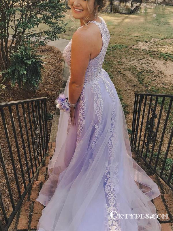 Jewel Neck Appliques Lavender Long Cheap Prom Dresses, TYP1892