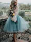 2020 New Arrival Boho Style Long Sleeve See Through Lace Top Blue Tulle Homecoming Dresses, TYP0513