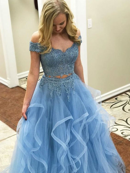 Off The Shoulder Two Piece Prom Dresseslace 2 Piece Formal Dresses
