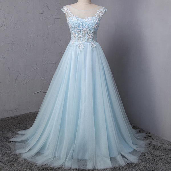 07a677082a59 Light Blue Scoop Neckline Flower Embroidery A-Line Long Prom Dress,  Beautiful Prom Dress
