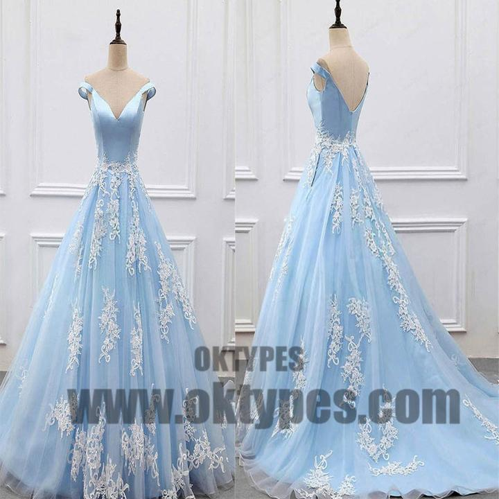 Charming Light Blue Top Satin Off The Shoulder A-Line Long Prom Dress With White Appliques, Prom Dress, TYP0482