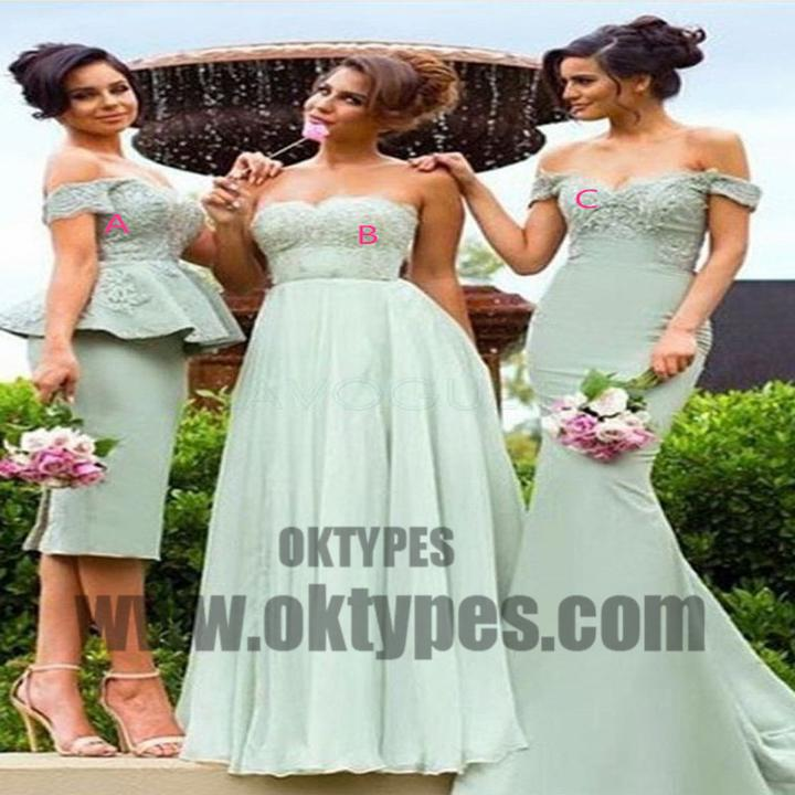Mismatched Cheap Chiffon Satin Top Lace Appliques Bridesmaid Dresses, TYP0509