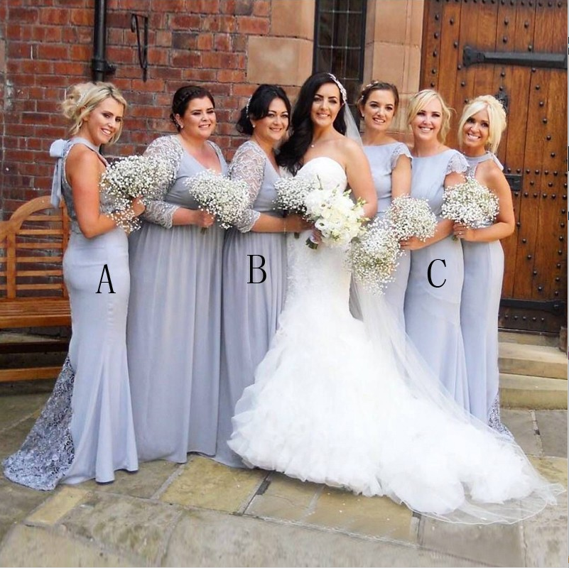 Mismatched Mermaid Long Cheap Light Grey Bridesmaid Dresses with Lace Applique, TYP1172
