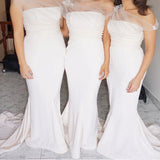 Mermaid One Shoulder Long Light Pink Cheap Bridesmaid Dress with Appliques, TYP0993