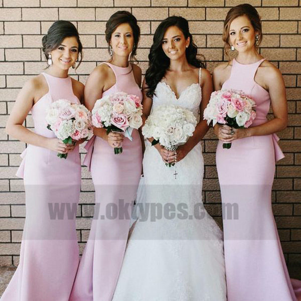 Light Pink Sleeveless Charming Long Mermaid Bridesmaid Dresses, Bridesmaid Dresses, TYP0755