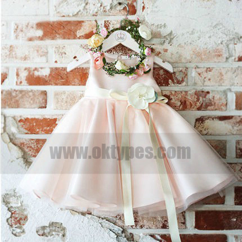 Light Pink Satin Flower Girl Dresses, Baby Girl Birthday Outfit, Flower Girl Dresses, TYP0770