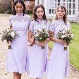 A-Line High Neck Knee Length Lilac Chiffon Short Bridesmaid Dresses with Lace, TYP1314