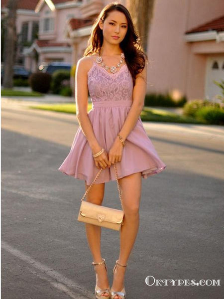 A-Line Spaghetti Straps Short Lilac Chiffon Cheap Appliqued Homecoming Dresses, TYP2039