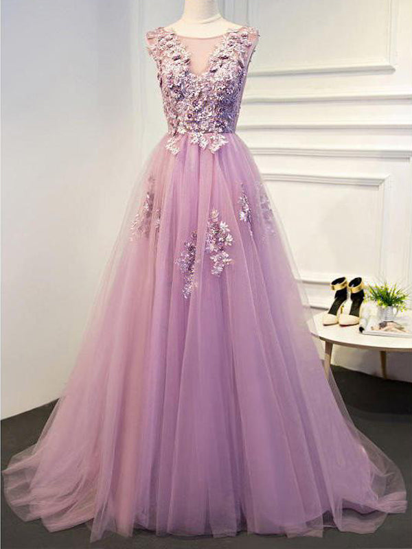 Chic  A-line Scoop Long Cheap Lilac Prom Dresses/Evening Dresses, TYP1343