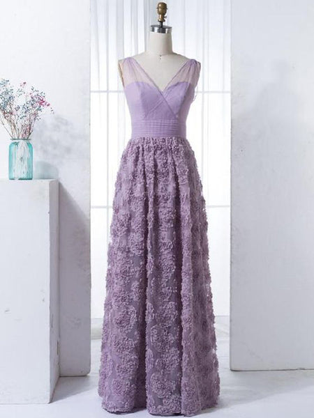 2ef0690b887 Charming Lilac V-neck Long Cheap Tulle Prom Dresses with Handmade Flowers