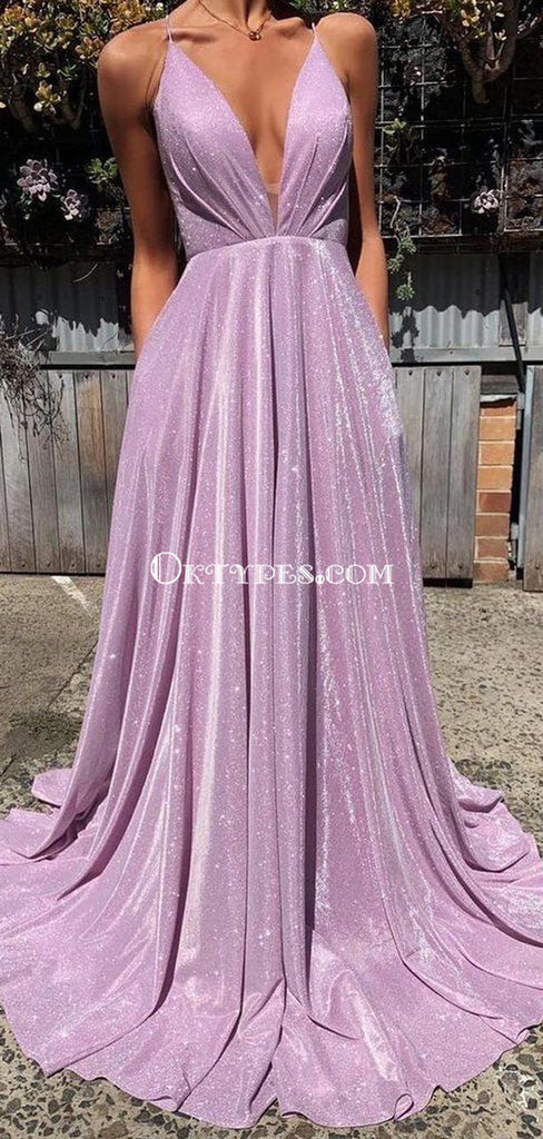 Simple Lilac Spaghetti Straps Cheap Long Evening Prom Dresses, Evening Party Prom Dresses, PDS0099